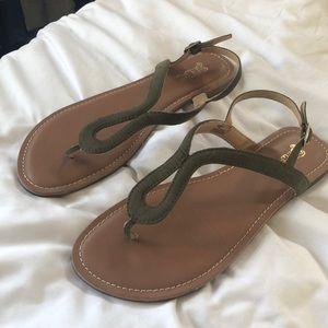 NWOT Olive Green Minimalist Strap Sandals